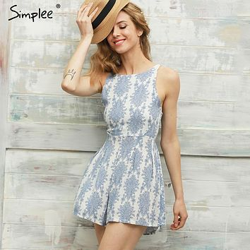 Simplee  Summer style blue floral print women jumpsuit romper Sexy strap backless paysuit Casual bow beach overalls