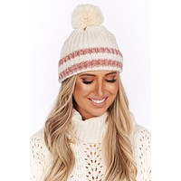 Dashing Through The Snow Chenille Pom Beanie (Ivory)