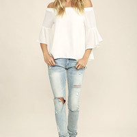 Soul Sisters White Off-the-Shoulder Top