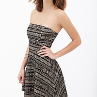 FOREVER 21 Tribal-Inspired A-Line Dress Taupe/Black