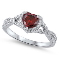 Sterling Silver CZ Simulated Garnet and Simulated Diamond Infinity Heart Fusion Ring 8MM