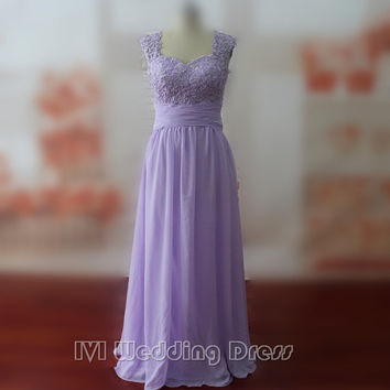 Real Photos Custom Made Light Purple Floor Length Lace and Chiffon Women's Dress Prom Dress Evening Dress Party Dress Evening Gown