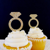 Ring Cupcake Toppers - Cupcake Toppers - Engagement Party - Bridal Shower Decorations - Wedding Shower Decorations - Set of 12