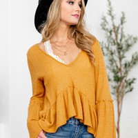 Mustard Waffle Textured Bell Sleeve Ruffle Bottom Top
