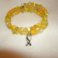 """Cancer Ribbon bracelet - yellow beads, silver """"Hope"""" ribbon charm, memory wire fits most,cancer colors, cancer support, custom jewelry avail"""