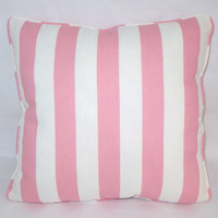 "Bubblegum Pink and White Stripe Throw Pillow,  17"" Square,  Welted Awning Cotton,   Insert Included,  Ready Ship"