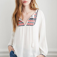 Tribal Pattern Embroidered Peasant Top