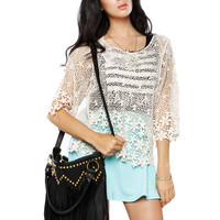 Papaya Clothing Online :: FLORAL NETTED CROCHETED TOP