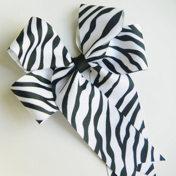 Large Hairbow, Pony Hairbow, Cheer Bow, Black and White Zebra Print Bow