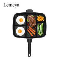 """Fryer Pan Non-Stick 5 in 1 Fry Pan Divided Grill Fry Oven Meal Skillet 15"""" Black"""
