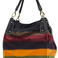 Colorful Striped Faux Fur Patterned Purse