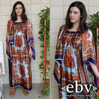 Vintage 70's Scarf Print Angel Sleeve Hippie Boho Maxi Dress S M L
