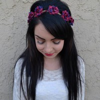 Wine Rose Headband #C1050