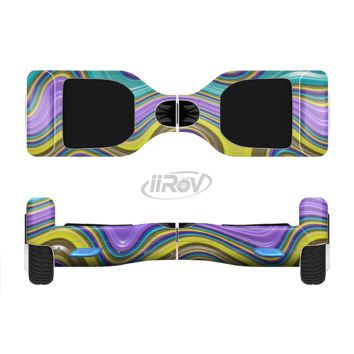 The Bright Purple Teal and Mustard Yellow Color Waves Full Body Skin Set for the Smart Drifting SuperCharged Transportation iiRov