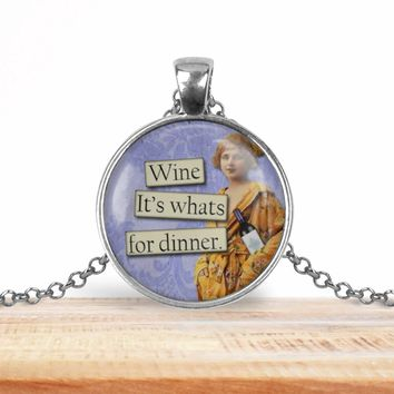 Retro girl wine pendant necklace, choice of silver or bronze, key ring option
