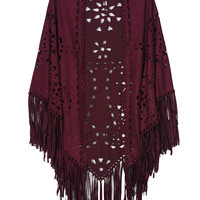 Solid Color Suedette Laser Cut Fringed Cape