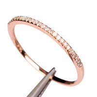 Stackable Pave 14K Rose Gold VS Diamond Wedding Half Eternity Matching Band Ring