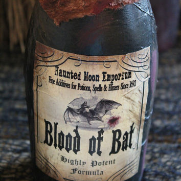"Halloween Potion Bottle, ""Blood of Bat"", Large Potion Bottle, Recycled Wine Bottle, Halloween Decoration, Prop, Display, Recycled, Upcycled"