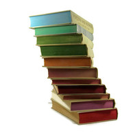 Vintage  Decorative Books in Tan with Rainbow edges for  Vintage Wedding Decor, Vintage  Photography Prop
