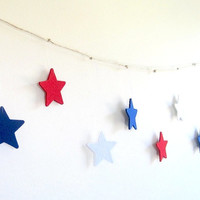 Red white blue stars garland, red blue white boy birthday banner, handmade Patriotic party decor, nautical theme party photo prop