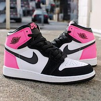 Air Jordan 1 Fashionable Women Men High Help Sport Shoes Sneakers(Black&Pink)