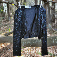 Sequin Black Blazer - 80s - Vintage Woman Outerwear