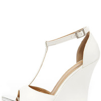 Grand Then Some White Peep Toe Wedges