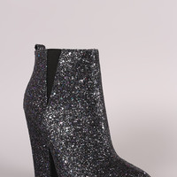Glitter Encrusted Pointy Toe Chunky Heeled Booties