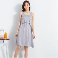 Summer Modal Sleeveless Nursing pregnant dress Breastfeeding Nursing Clothes for pregnant women Maternity Dresses with pads