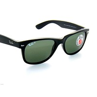 RAY BAN SunglaSSeS 2132 RAYBAN BLACK/GREEN POLARIZED WAYFARER 901/58 55
