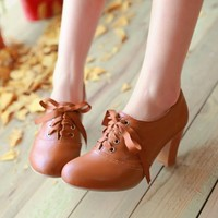 Women's Punk Pointed Toe Lace Up Platform Block High Heels Ankle Boots Shoes Sz