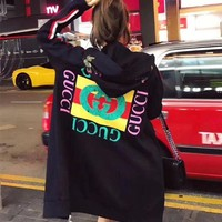 """Gucci"" Women Flower Embroidery Letter Pattern Print Hooded Long Sleeve Zip Cardigan Sweater Medium Long Section Coat H-AGG-CZDL"