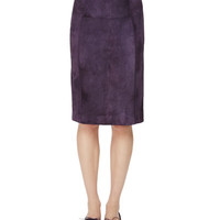 Cashmere Knit Sweater w/Suede Front & Suede Raised-Seam Pencil Skirt