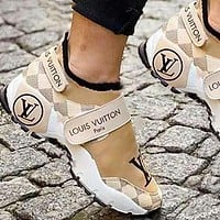 Louis Vuitton Women Shoes Velcro Toes Letters With Shoes Tail Letters Sneakers White
