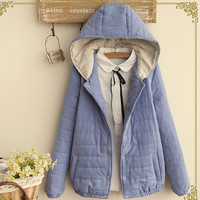 Button Down Elastric Trim Hooded Coat