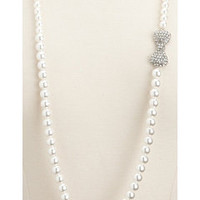 Long Side Bow Pearl Necklace: Charlotte Russe
