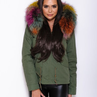 Rainbow Fur Collar Hood Parka Army Green