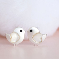 Silver Baby Chick Stud Earrings, Tiny Bird Ear Post, Adorable Whimsical Jewelry