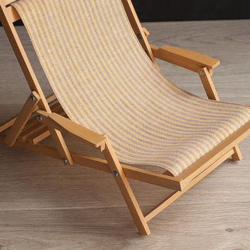 1/4 scale Doll Beach Chair with Armrests, Striped Playscale Deckchair, Wooden Furniture for MSD-size BJD's and other dolls up to 45 cm