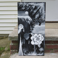 """Abstract painting, Rose painting, Tree painting , Bird painting, Black and white ,12x24"""" canvas, Canvas painting, Acrylic Painting, Artwork"""