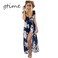 GTIME Sexy v neck floral summer dress Evening wedding party dress boho women dress Vintage maxi vestidos girl dresses # WGT87