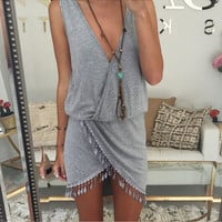 Vintage V-Neck Fringe Asymmetrical  Dress
