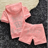 Juicy couture Trending Casual Diamond Print Short Sleeve Shorts Two Piece Set Pink