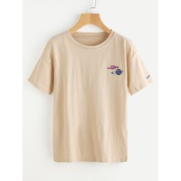 Graphic Embroidered Tee Apricot