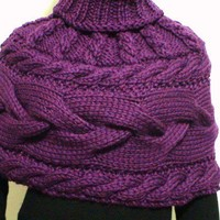 Hand  Knit  Shawl Poncho Cape  with cables and high collar  Best  Quality  Peruvian Wool  ready to ship  in plum color
