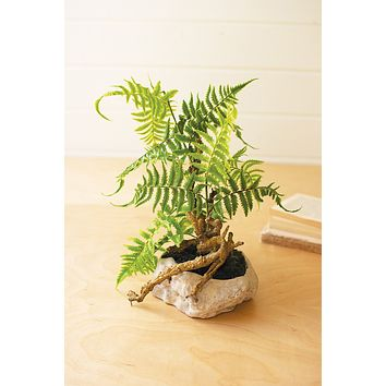 Artificial Fern In A Grey Paper Pulp Pot