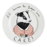 BECAUSE THE BADGER LOVES CAKE SIDE PLATE