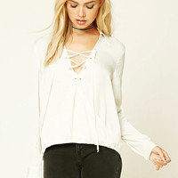 Contemporary Satin Lace-Up Top