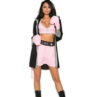 Sexy Ladies Four Piece High Waist Shorts Hooded Boxer Rope Halloween Costume