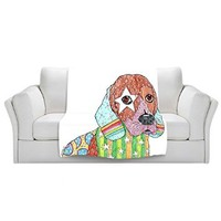 Blankets Ultra Soft Fuzzy Fleece 4 SIZES! from DiaNoche Designs by Marley Ungaro Home Decor Unique Designer Artistic Stylish Bedroom Ideas Couch or Throw Blankets - Beagle Dog